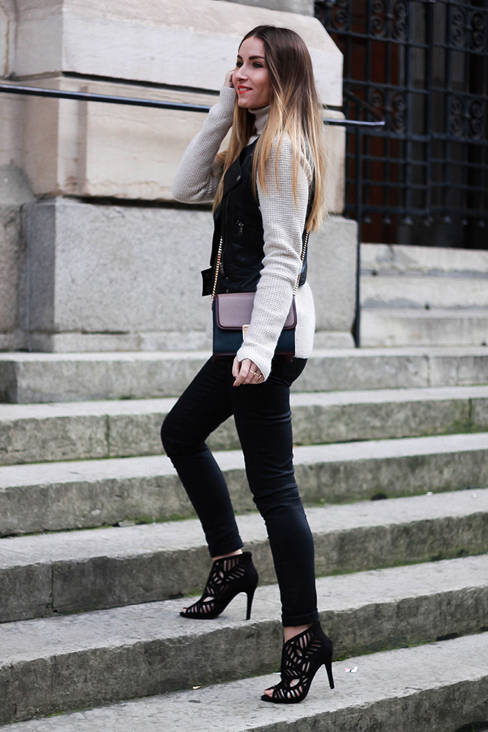 black beige outfit