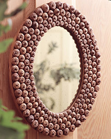 This gorgeous copper acorn mirror is a natural beauty