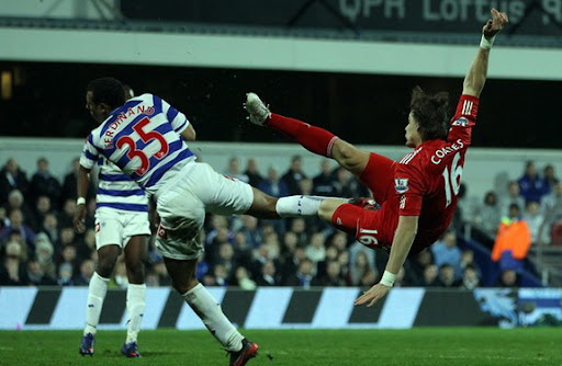 Liverpool player Sebastián Coates scores with a brilliant scissor kick against QPR