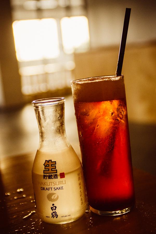 Sake and strawberry soda at  Otaku South at Pop Nashville in Nashville Tennessee