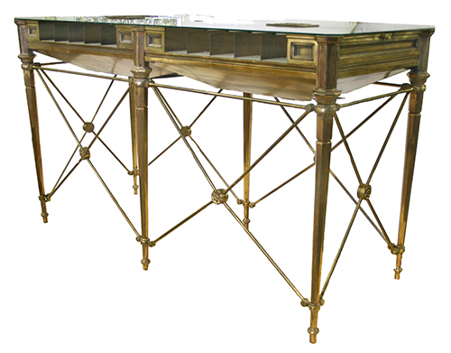 bronze bank table with glass top available at demolitiondepot.com