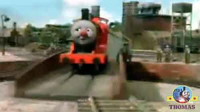 Thomas the tank engine James the train spun on Sodor Tidmouth roundhouse railway turntable bay
