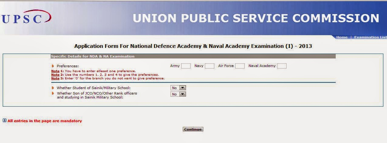 How to apply for NDA & NA examination online