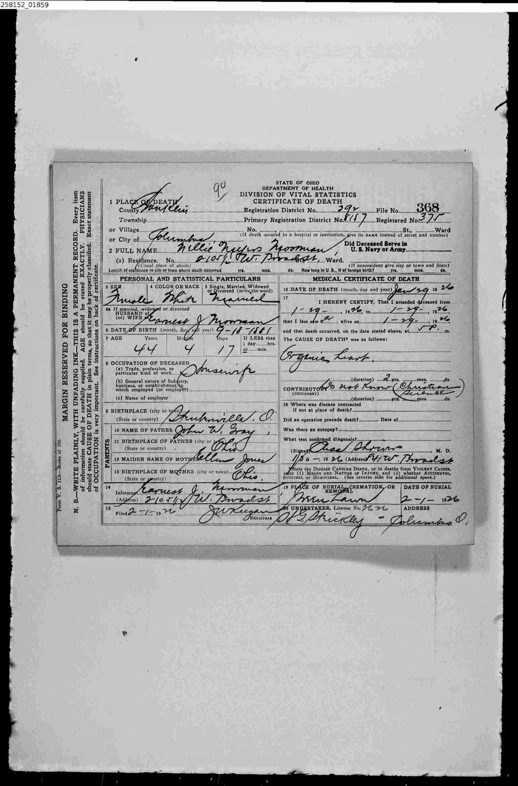 Allegheny ancestry genealogy trails state of ohio death a comparison of the death certificate from ohio deaths 1908 1953 and ohio county deaths for columbus franklin county ohio aiddatafo Image collections