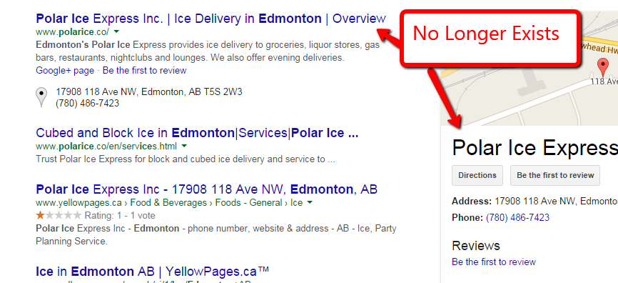 Google web page image showing Polar Ice still in search.