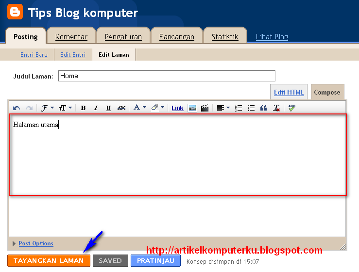 menu tab blogspot