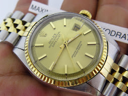 ROLEX OYSTER PERPETUAL DATE JUST GOLD DIAL - ROLEX 1601 GOLD DIAL