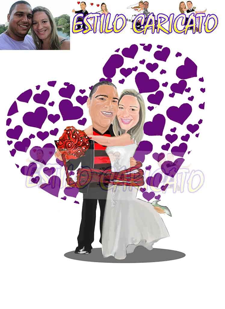 caricatura,noivos,convite