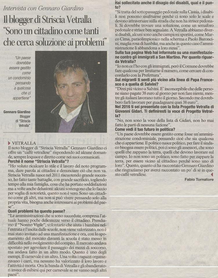 Intervista rilasciata al Corriere di Viterbo