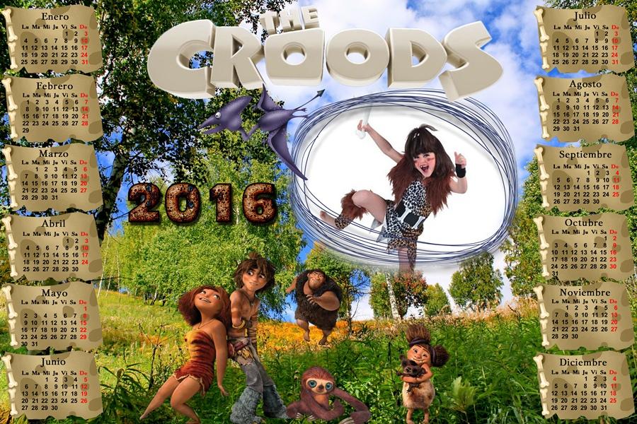 ... : Calendario del 2016 de los Croods para Photoshop (Psd y Png