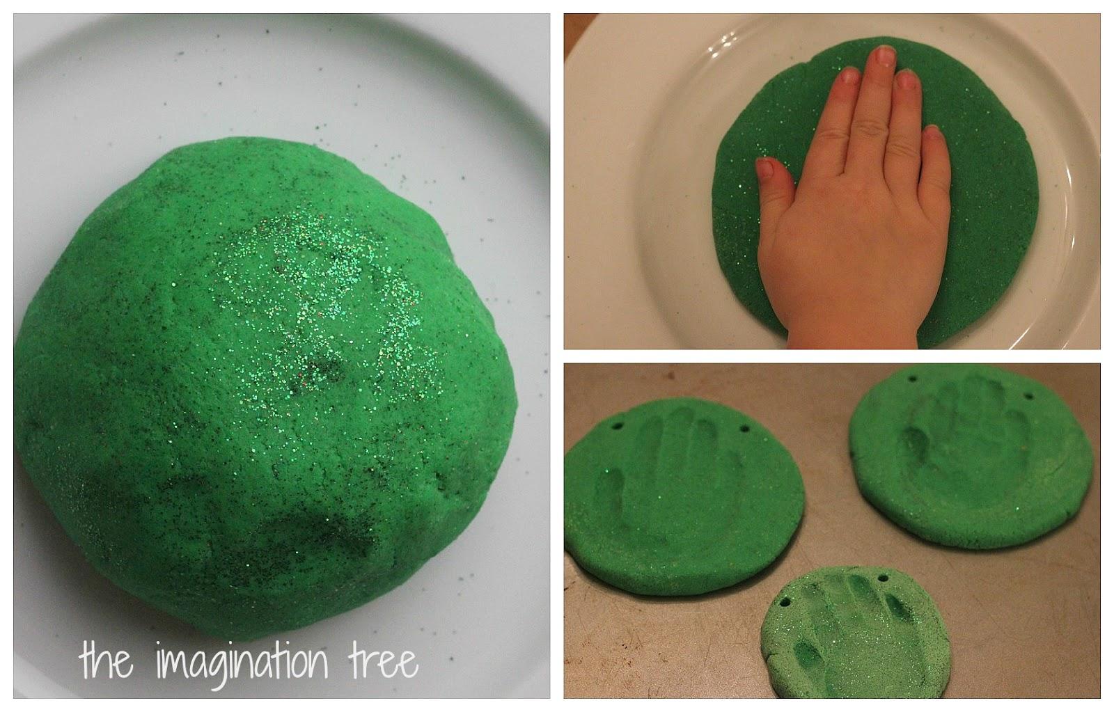 Green Glitter Salt Dough Collage
