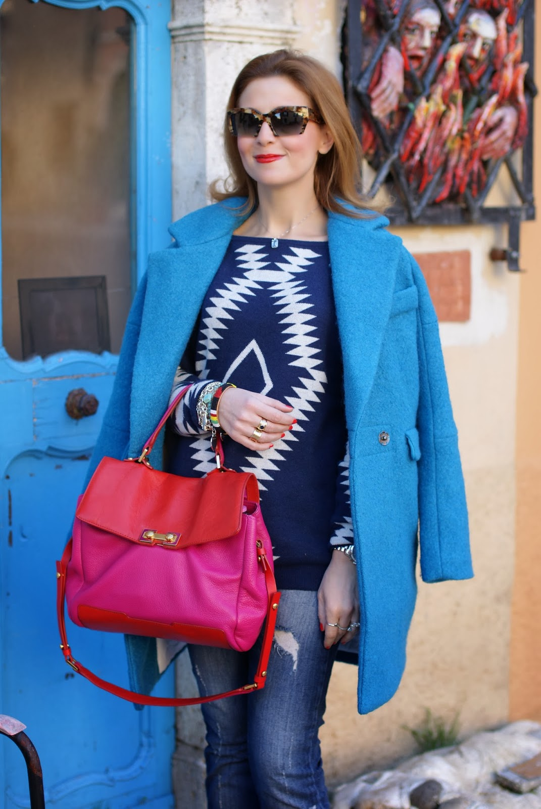 Choies Blue woolen ovoid coat, Marc by Marc Jacobs color block bag, Fashion and Cookies, fashion blogger