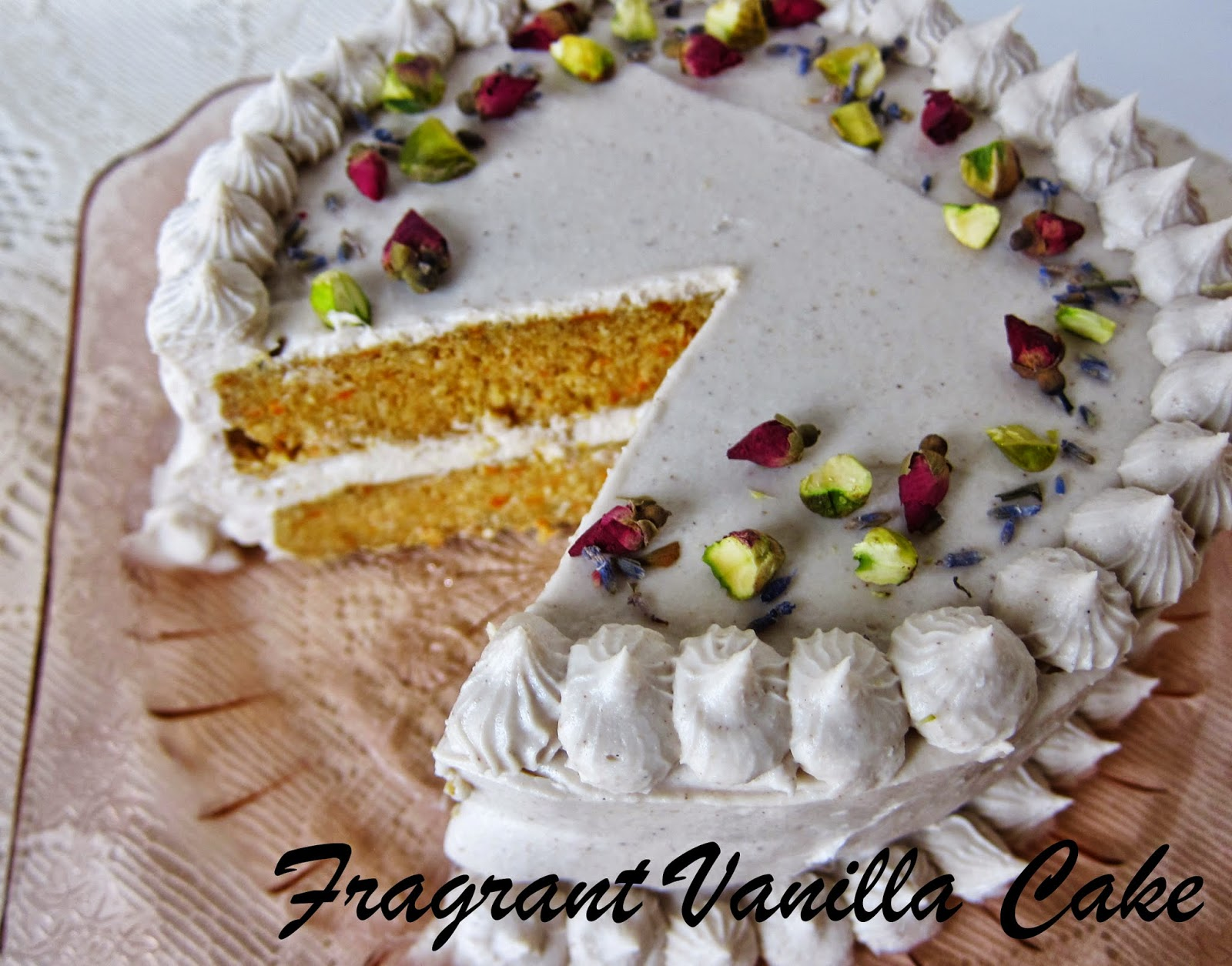 ... Cardamom Scented Carrot Cake with Rosewater Vanilla Coconut Frosting