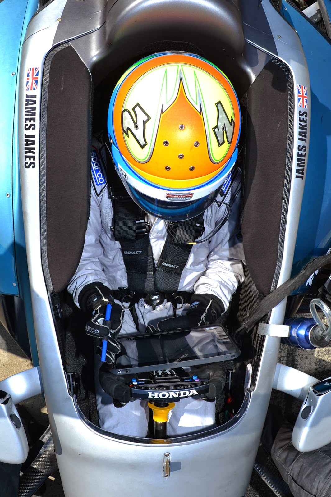 James Jakes is strapped into his Honda on pit lane during Tuesday's Open Test sessions at Barber Motorsports Park