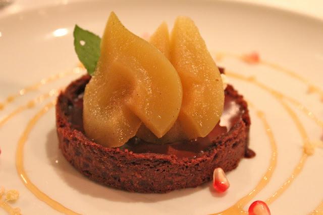 Vin Santo chocolate tart with seckel pears