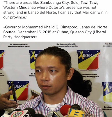 There are areas like Zamboanga City, Sulu, Tawi Tawi, Western Mindanao where Duterte's presence was not strong, and in Lanao del Norte, I can say that Mar can win in our province