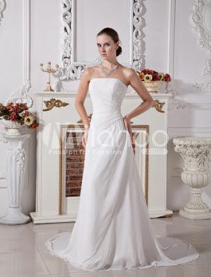 Blanc Elegant A-ligne bretelles robe de mariée perles