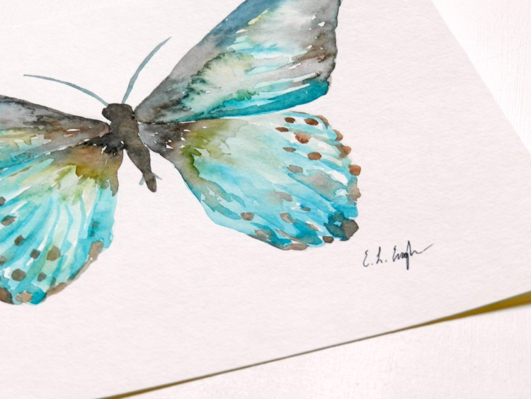 Original Teal Watercolor Butterfly Painting by Elise Engh: Grow Creative
