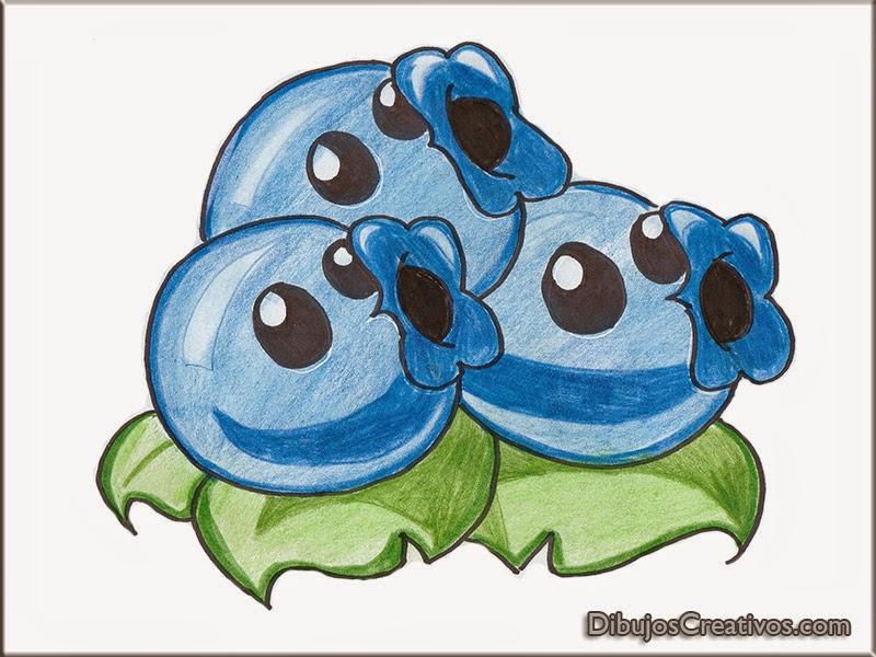 dibujos coloreados BLUEBERRIES PLANTAS VS ZOMBIES 2