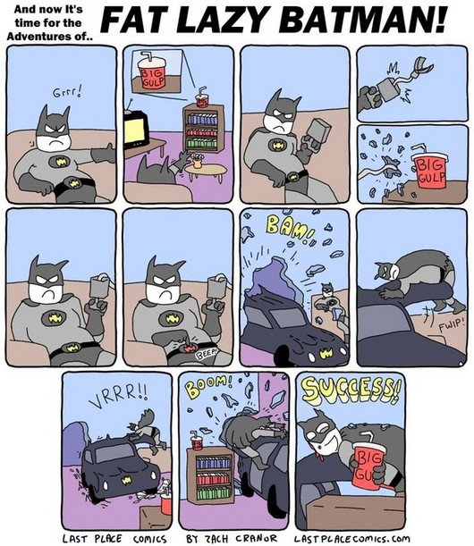 funny, funny picture, comic, batman comic, the adventures of fat lazy batman, batman