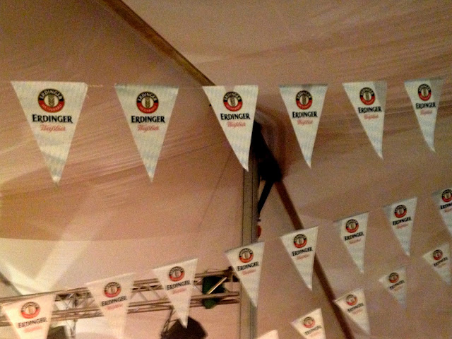 Flag bunting inside the tent at Marco Polo German Bierfest, TST, Hong Kong on Halloween