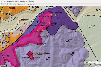 Mapa geològic de la zona de la caminada, on s'aprecia l'extensió dels conglomerats i gresos de la Serra de l'Ataix