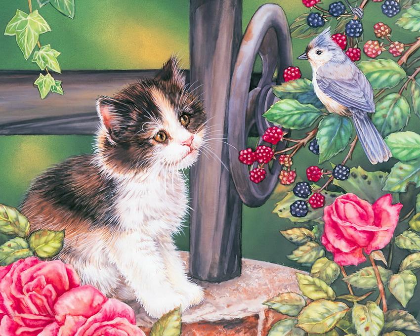 красивые рисунки кошки и собаки