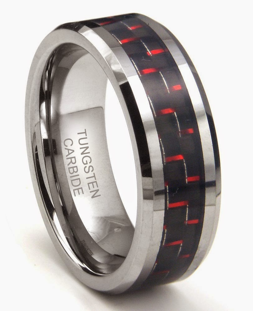 Tungsten Carbide Mens Red Wedding Rings Two Tone Design pictures hd