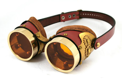 brass and brown leather steampunk goggles