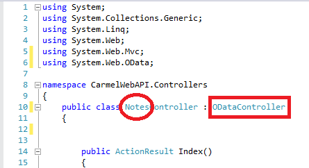 "WebAPI ODataController Error ""No type was found that matches the controller named..."""