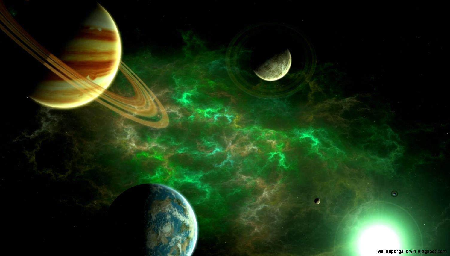 Space Universe Green Planet Hd Wallpaper Wallpaper Gallery