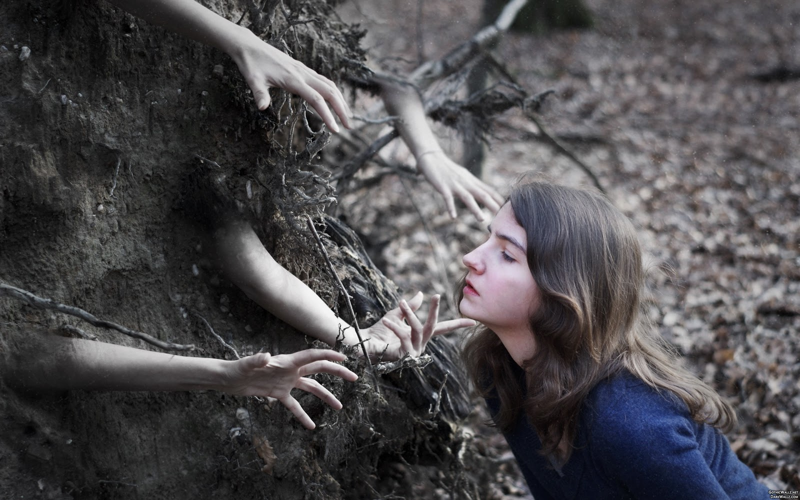 Graveyard hands grab pretty girl | Dark Gothic Wallpaper Download