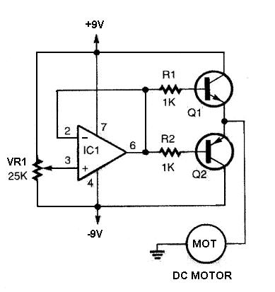 Schematic wiring diagram 741op amp based on dc motor for Dc motor control circuit diagram