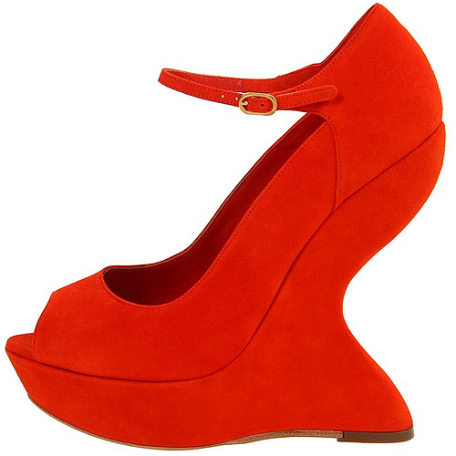 Alexander McQueen velvet curved wedges Trends: The inward curve heels