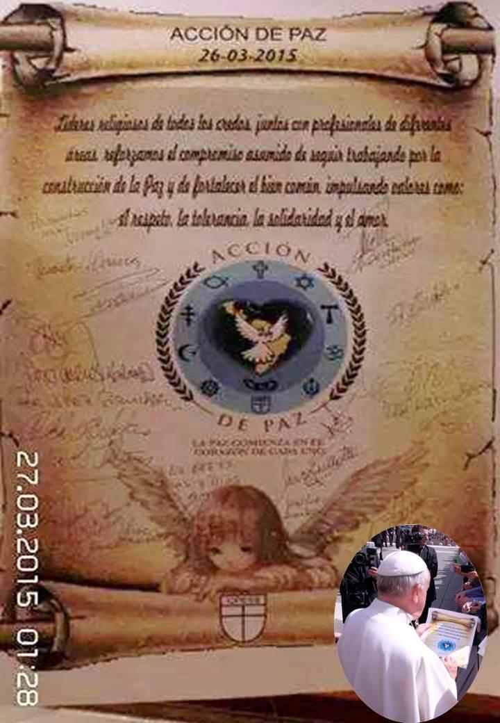 PERGAMINO FIRMADO POR LIDERES RELIGIOSOS CON UN COMPROMISO DE PAZ
