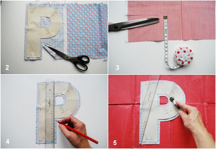 Схема букв из ткани
