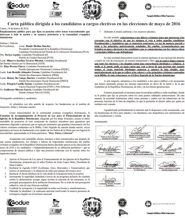 Comunicado dirigidos a los candidatos a cargos electivos en las elecciones de mayo de 2016