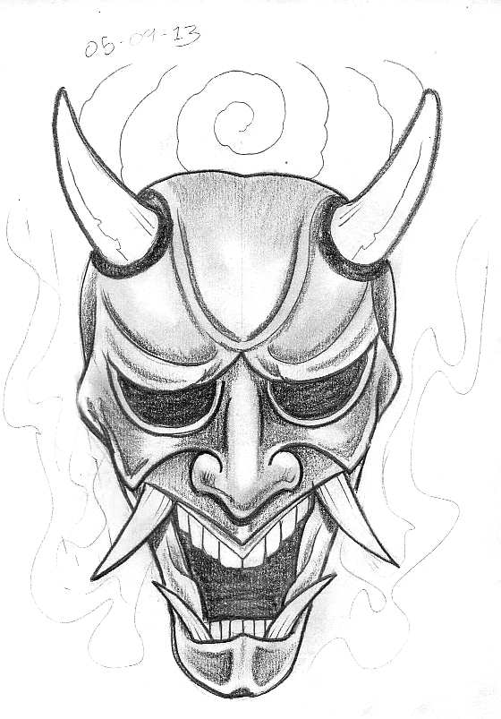 Devil Face Line Drawing : Tattoo sketch a day japanese masks september st th
