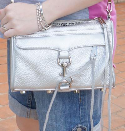 away from blue rebecca minkoff silver mini MAC bag