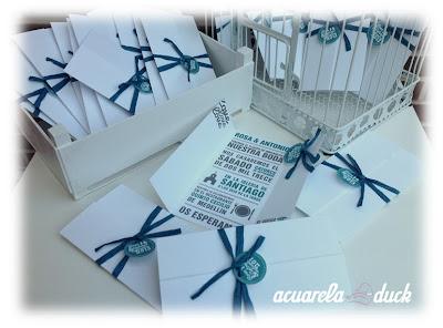 Invitación boda blanco y azul