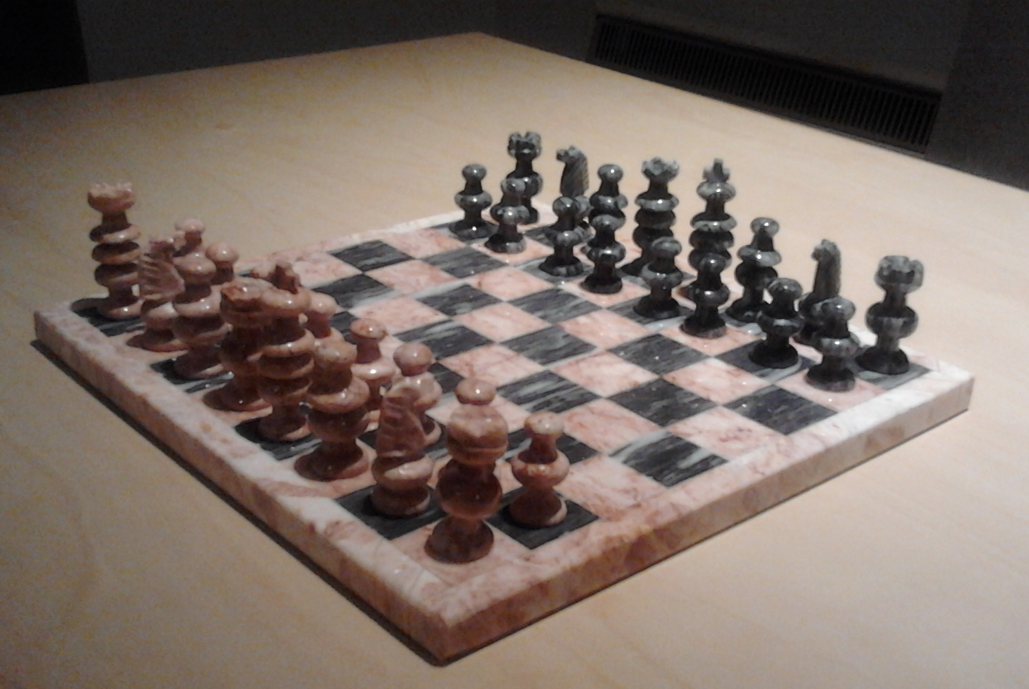 Marble chess set pink grey stone in pristine condition - Granite chess pieces ...