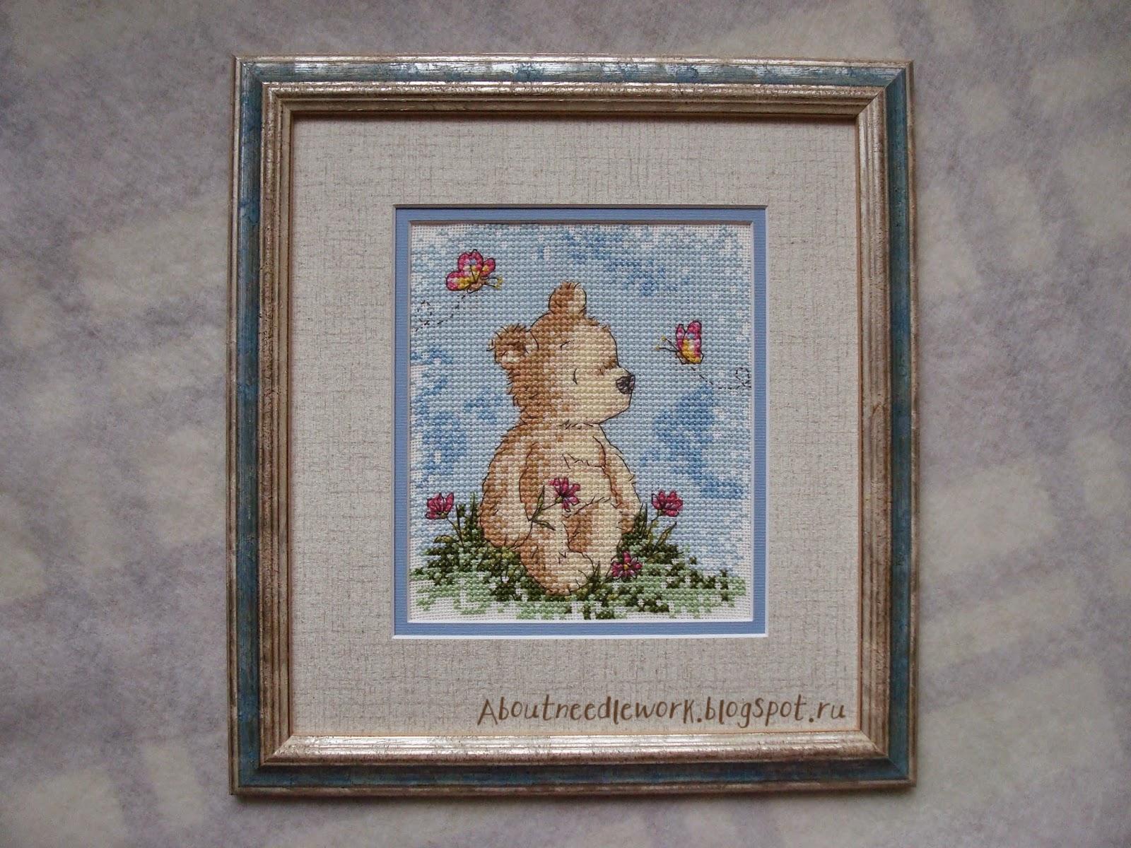 Вышивка крестиком: мишка тедди
