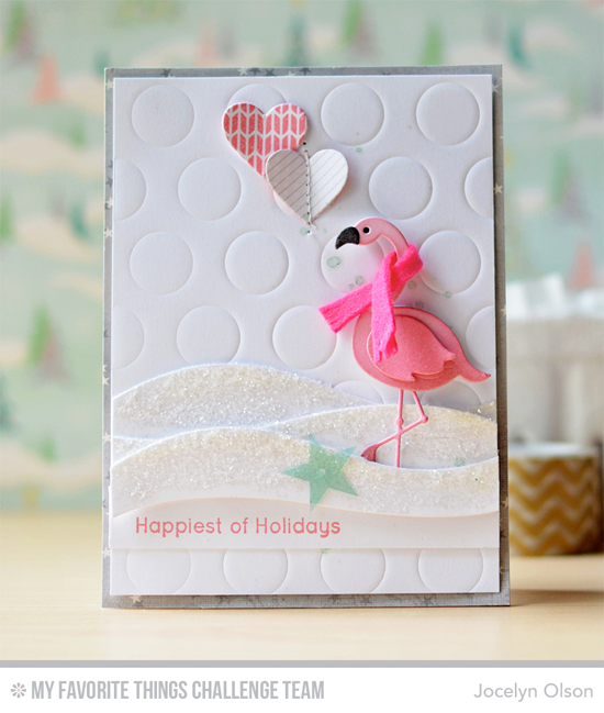 Frozen Flamingo Card by Jocelyn Olson featuring the Laina Lamb Designs Flamingos Die-namics and the Snow Drifts and Jumbo Dot Cover-Up Die-namics #mftstamps