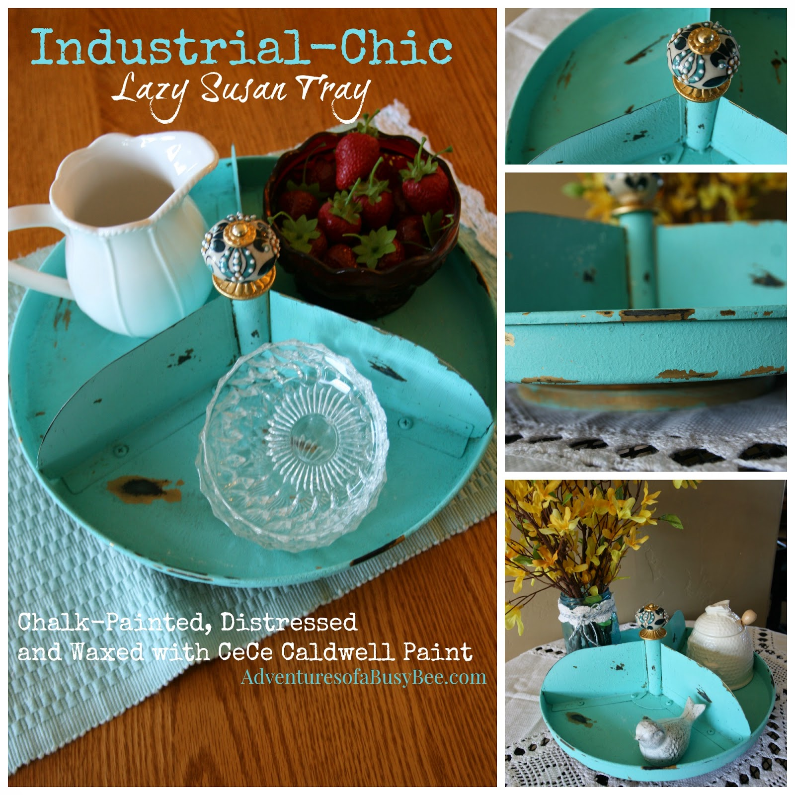 Adventures of a BusyBee: Sweet Industrial-Chic Lazy Susan Tray