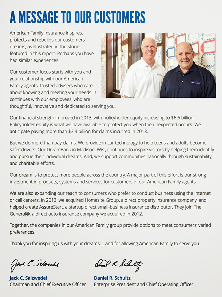 Jack Salzwedel & Daniel Schultz - American Family Insurance Annual Report 2013