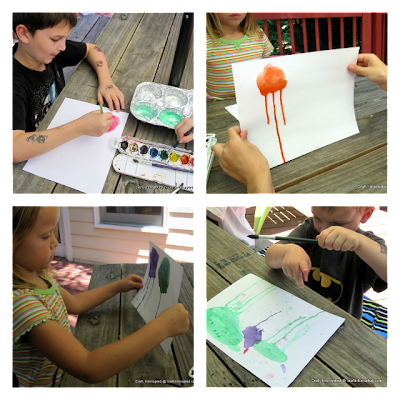 collage of photos showing how to paint watercolor jellyfish with kids