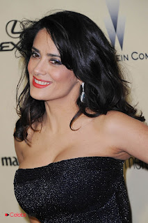 Salma Hayek Pictures in Black Shoulderless Dress at Weinstein Company Golden Globes Party  0003.jpg