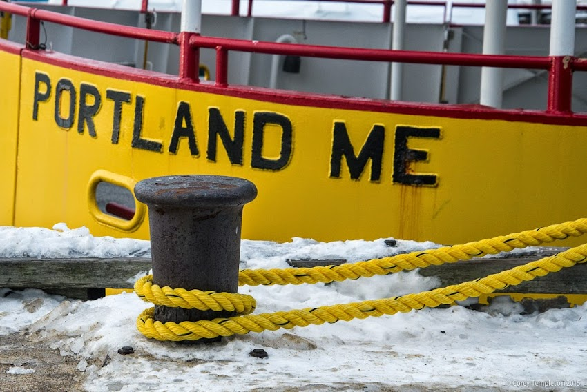 Portland, Maine January 2015 Casco Bay Lines ferry rope tied to Maine State Pier photo by Corey Templeton