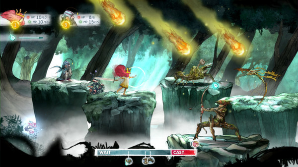 Image of turn-based combat in Ubisoft video game Child of Light