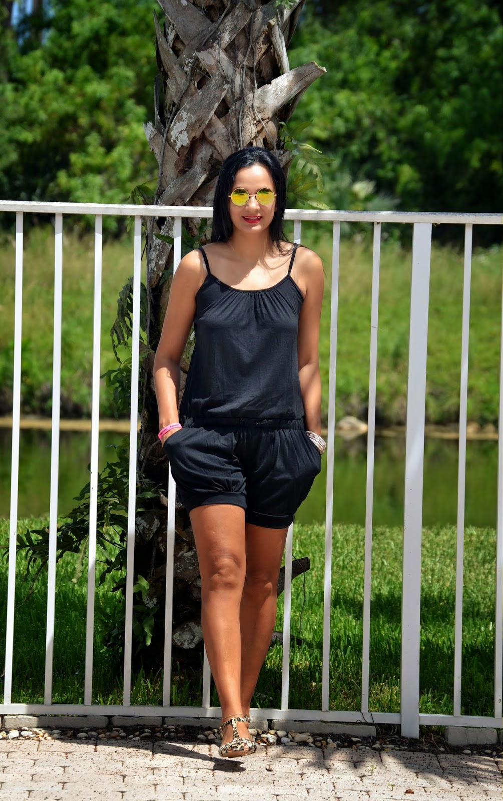 Casual Romper And Leopard Sandals